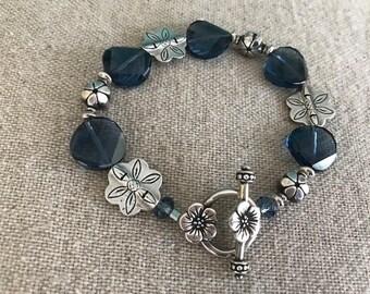 Blue denim Swarovski crystal and sterling silver floral bracelet Sterling toggle with flowers