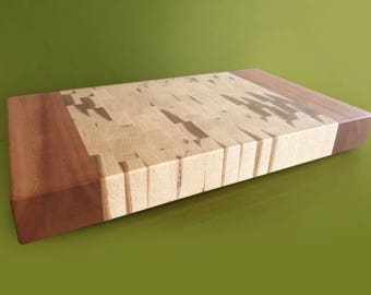 Hickory/African Mahogany End grain cutting board