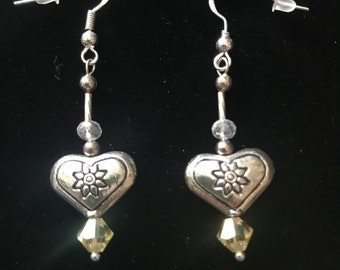 Beautiful Hand-Made Sparkly Light Yellow Swarovski Crystals with some Vintage Sterling Silver Beads and other Quality Materials Earrings