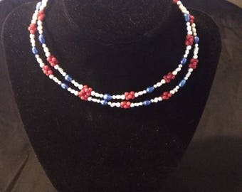 Beautiful handmade one of a kind 4th of July inspired jewelry set.