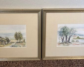 Original Signed French Watercolors