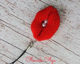 Lips Keychain, Keychain Crochet, Keychain Handmade, Keychain of Beads, Scarlet Lips