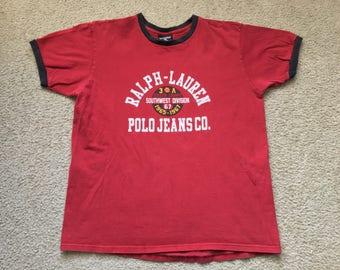 Men's Vintage 90s Polo Jeans Co Ralph Lauren Big Spell Out T Shirt Size Large