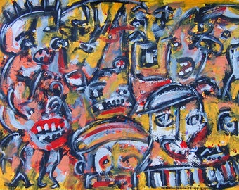 raw art acrylic on paper 65 x 50 cm outsider art folk primitive