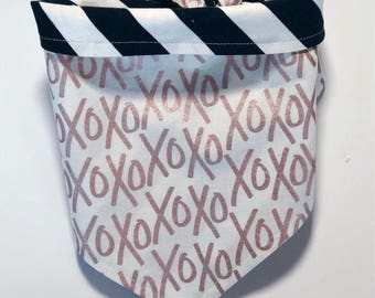 XOXO | XO's and Stripes Reversible Pet Bandana | Dog Bandana | Cat Bandana |