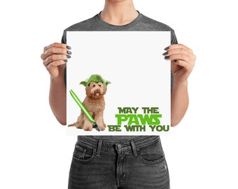Yoda GoldenDoodle Star Wars Poster - May The Paws Be With You - Labradoodle, Bernedoodle