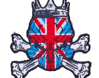 "Cool UK Union Jack Skull & Crossbones Embroidered Sew-On Patch 3 1/2"" x 4"" Regal King United Kingdom British, New"