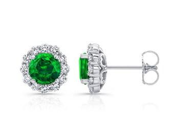 0.50ctw Tsavorite Garnet and Diamond Halo Studs, 14K, 18K, Platinum, Garnet, Diamond Stud Earrings, Diamond Earrings, Gold Earrings, Barkevs
