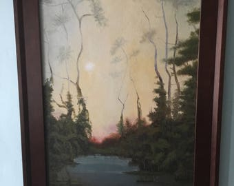 The Pond oil on canvas painting rural landscape country scenery swamp lake trees Georgia southern America