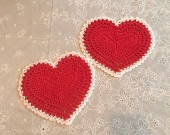 Set of 2 hand made heart dish towels