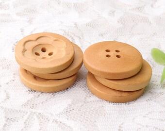 six petals wood buttons natural wooden buttons 10pcs 26mm 4 holes wooden buttons coat buttons