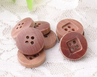 brown wooden buttons 15mm 10pcs natural wood buttons 4 holes sewing buttons blouse buttons square edge back