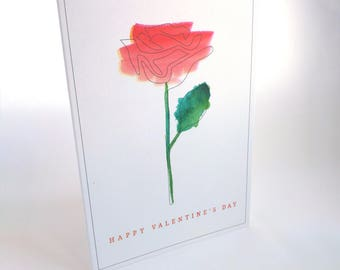 Valentine Rose Watercolour Card