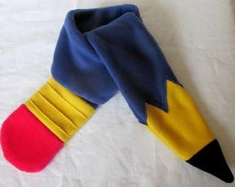 Kids pencil fleece scarf