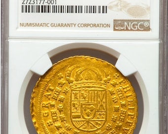 """SPAIN 1706 8 ESCUDOS """"only 1 known!"""" ngc 55 gold doubloon seville treasure coin"""