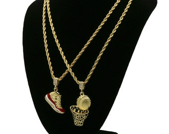 "New Mens Gold Plated Hip Hop Retro 11 ""Cherry"" & Basketball Pendant 4mm 24"" Rope Chains"