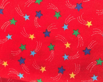 Vintage Cotton Fabric - red stars  multicolour star pattern  childrens - retro - material patch