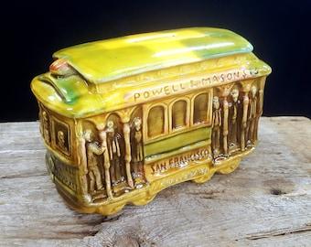 Vintage 70s Glazed Ceramic San Francisco Trolley - Street Car - Cable Car - Coin Bank