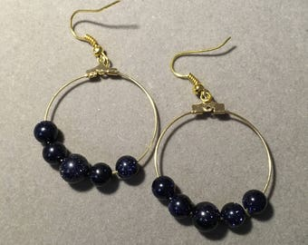 Dark Blue Sparkle Hoops