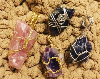 Purple and Rose Amethyst Gemstones Wrapped