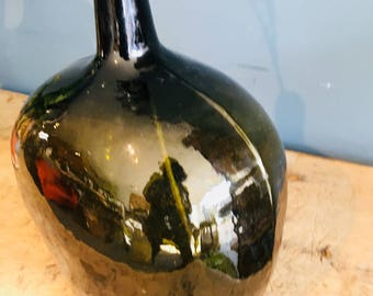 Lovely old dark green square bottle/vase