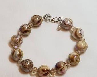 Brown and White Swirl Bracelet
