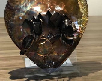 Copper Roase Heart Sculpture