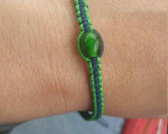 Blue and green hemp bracelet with glass-blown beads
