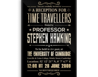 Stephen Hawking Framed Poster, Stephen Hawking's Time Travellers Invitation
