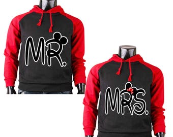 Two Color Hoodies for All Disney Land MR. and MRS. Mickey Mouse Raglan Black-Red Cotton Pullover Hooded Sweatshirt