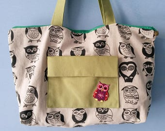 Bag with owls, shoulder bag, big bag, cloth bag, cloth bag with owls, purse with pockets, ecru bag, zippered bag
