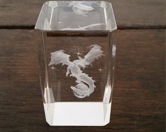 3 D Crystal Glass block letter heavy motif Dragon Sky Vintage