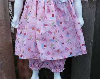 24 month Short sleeve dress with matching ruffled diaper cover.
