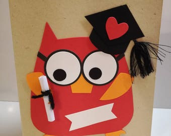 Graduation Owl-Greeting Card (size 16 x 13 cm)-Congratulations-congrats-red-110 and praise-owl
