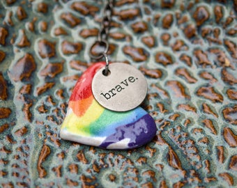 Watercolor Rainbow Ceramic Keychain