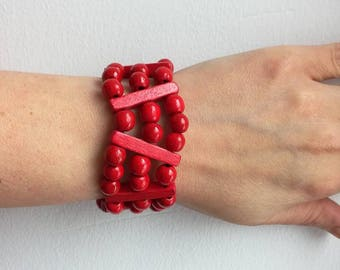 Wide stretch bracelet Natural Wooden Bracelet red Earthy Bracelet Wide Stretch Bracelet Christmas jewelry Holiday gift Stackable Bracelet