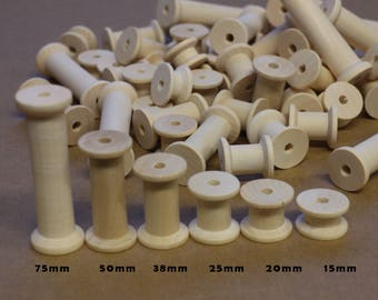 70 Wooden Bobbins Mixed Sizes - Natural