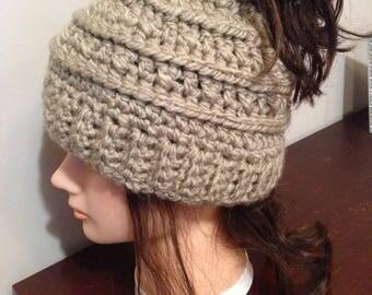 Women's messy bun hat
