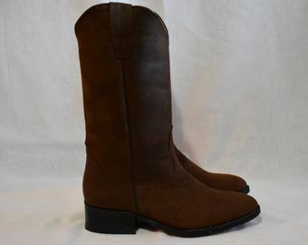 Roper Style Leather Hand made Cowboy Boots DARK BROWN