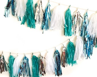 Sparkly Turquoise Tassel Bunting