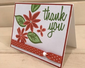 Thank you, Handmade cards, with love , flowers