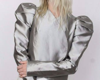 Authentic Dolce & Gabbana Silver Silk Jacket sz S - Video Available!