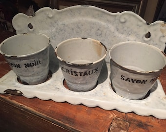 Glazed shelf Vintage French vases