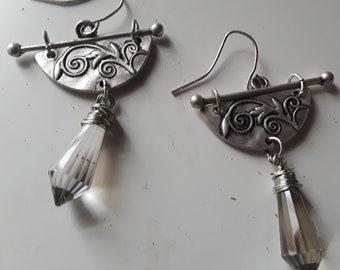 Silver Embossed Dangle Crystal Earrings