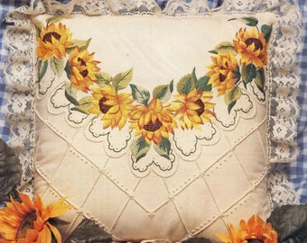 Candamar Designs Something Special Candlewicking Embroidery Sunflowers Pillow