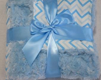 Blue ZigZag baby blanket