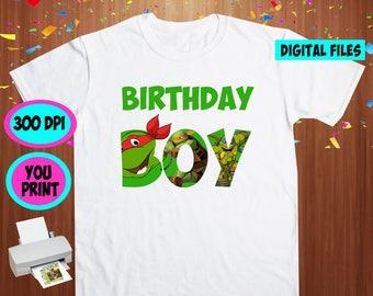 TMNT. Iron On Transfer. Tmnt Printable DIY Transfer. Tmnt Birthday Boy Shirt DIY. Instant Download. Digital Files Only.