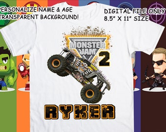 Monster Truck Show Printable Iron On Transfer - Custom Personalized T-Shirt Decal Design - Digital File - Personalize