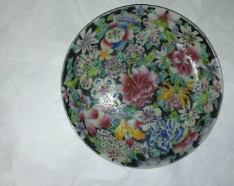 Chinese Mille Fleurs Guangxu Black Ground Plates