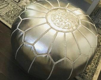 Silver Pouf, Moroccan Pouf Artificial leather